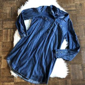 Lucky Brand Medium Blue Long Sleeve Denim Dress